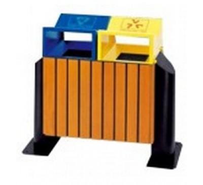 Thùng rác bằng gỗ 2 ngăn phân loại rác thải